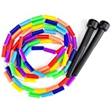 K-Roo Sports SJMP-5 Rainbow 7-Foot Jump Rope with Plastic Beaded Segmentation