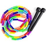 K-Roo Sports Rainbow 7-Feet Jump Rope with Plastic Beaded Segmentation | Colorful Exercise Rope for Kids | Indoor/Outdoor Fun Activity