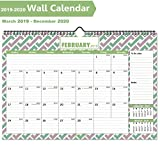 """Desk Calendar 2019-2020, Large Monthly Desk Calendar with Plastic Cover: 17""""x11.5"""", 13 Month Academic Year Desk Calendars (January 2019 - June 2020) with Bonus Planner Stickers by COOLOO"""