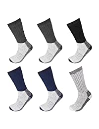 Falari 6 Pairs Wool Socks Excellent for Cold Weather Temp -15-5°C Assorted Colors