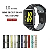 Kobwa Soft Silicone Nike and Sport Style Replacement Band For Apple Watch Series 1 and 2, (38mm black+grey)