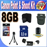 Canon PowerShot Accessory Saver Bundle! (8GB SDHC Memory + USB Card Reader + Memory Card Wallet + Deluxe Camera Case w/Strap + Lcd Screen Protectors + Mini Tripod + Accessory Saver Bundle!)