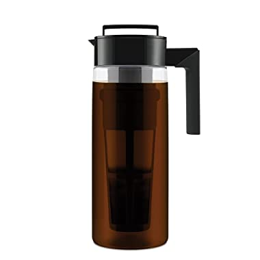 Takeya 10311 Patented Deluxe Cold Brew Iced Coffee Maker with Airtight Seal & Silicone Handle, Made in USA, 2-Quart, Black BPA-Free Dishwasher-Safe