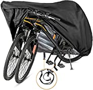 Szblnsm Bike Cover for 1 or 2 Bikes - Outdoor Waterproof Bicycle Covers - 420D Heavy Duty Ripstop Material Off