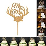 BleuMoo Mr & Mrs Wedding Cake Topper Wooden Deer Antler Wedding Cake Topper