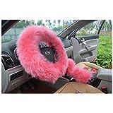 "BELLESIE 3pcs 1 Set Soft Fluffy Plush Australian Wool Car Steering Wheel Cover with Handbrake Cover & Gear Shift Cover for 14.96"" X 14.96"" Steeling Wheel in Diameter"