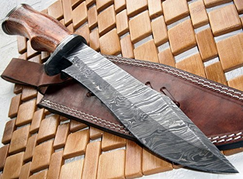 REG-215 – Handmade Damascus Steel 14.00 Inches Bowie Knife – Exotic Wood Handle (Color/Case Vary)