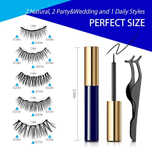 Reusable Magnetic Eyelashes and Eyeliner Kit, 5 Pairs Multi Styles Waterproof Natural Look False Eyelashes Easy to Apply, Best Gifts for Girls or Women(No Glue Needed)