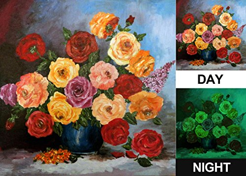 Painting on Canvas, Glow in the Dark Wall Art Framed Print, No Energy Use – Colored Roses in a Vase (24 X 24 Inch)