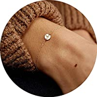 LOYATA Women's Initial Charm Bracelet, 14K Gold Plated Small Round Engraved Letters Disc Adjustable Bracelet for Girls