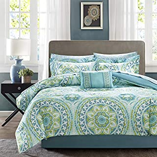 Madison Park Essentials MPE10-118 Serenity Complete Bed and Sheet Set Cal King Aqua