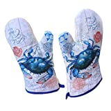 Thick Oven Mitts Crab Heat Insulation Gloves Oven Glove Canvas Mittens , A Pair