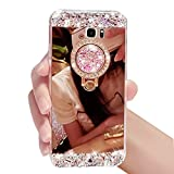 Cases Galaxy Note 5, Samsung Note 5 Case Cover, Bonice Diamond Glitter Luxury Crystal Rhinestone Soft Bumper Bling Mirror Makeup Case with Ring Stand Holder for Samsung Galaxy Note 5 - Rose Gold