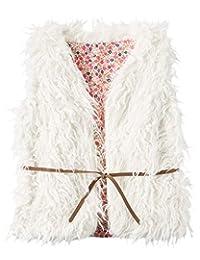 Carter's Little Girls' Boho Faux Fur Belted Vest (4t, ivory)