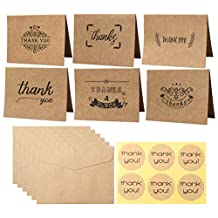 wotu 36 Pcs Thank You Cards, 6 Designs Kraft Paper Greeting Gift Note Cards with Envelopes Stickers for Wedding Graduation Festival