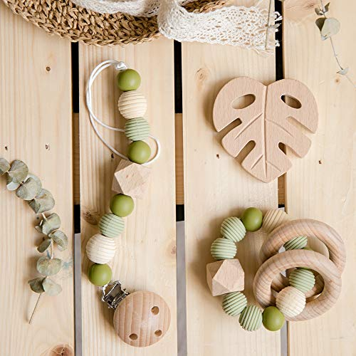 Biter teether 2-in-1 Baby Teething Set Natural Leaf Pendant Universal Pacifier Clip & BPA Free Silicone Solid Color Beads Rattle Sensory Toy Wooden Teether Rings for Boys and Girls