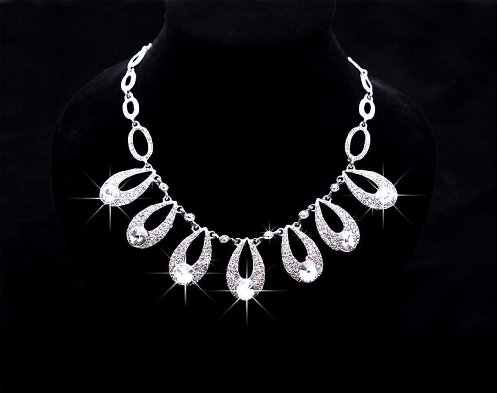 384dffc4d8 ... AN-LKYIQI Conjunto de joyería Nupcial Collar de Diamantes Diamantes  Diamantes de imitación de Estilo ...