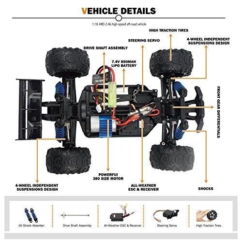 REFURBISHHOUSE 2,4 GHz 4WD 1 18 High Speed Truck Fernbedienung RC Rennwagen Off-Road Truck Speed Geschenk (blau) efd5dd