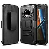Funda Case con Clip para Motorola Moto G5 (No Plus) Triple Protector de Plástico para Uso Rudo (Negro)