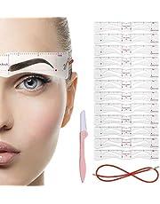 ZOYLINK Ögonbryn stencil gör-det-själv återanvändbar ögonbrynsmall 12 st ögonbrynsform kortset med ögonbrynstrimmer och rem för nybörjare flickor kvinnor