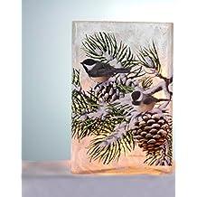 Stony Creek Lighted Glass Vase (Rectangle 4 x 3 x 5.75, Whispering Pine Chickadee)