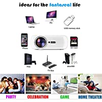 1000 lumens Smart Projector Full HD 1080p Cinema Support TV, HDMI Input, DC, SD Card Slot, USB, VGA Port, AV In, Stereo Jack for Home Cinema Theater, Child Games- White