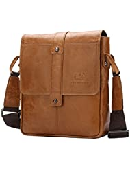 BISON DENIM Vintage Genuine Leather Shoulder Sling Bag Cross body Messenger Bags Handbag Business Bag