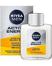 NIVEA MEN Active Energy After Shave Balsem (100 ml), revitaliserende aftershave, huidverzorging na het scheren met cafeïne uit 100% natuurlijke bron