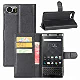 Blackberry Keyone Case, Fettion Premium PU Leather Wallet Flip Phone Protective Case Cover with Card Slots and Magnetic Closure for Blackberry Keyone Smartphone (Wallet - Black)