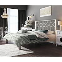 In Style Furnishings Aura Modern Metal Low Profile Thick Slats Support Platform Bed Frame With Honeycomb Headboard - Full Size, White