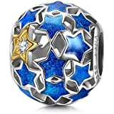 NINAQUEEN Starry Night 925 Sterling Silver Blue Stars Openwork Bead Charm for Pandöra Bracelets Necklace Birthday Anniversary Valentines Pendant Gifts for Teen Girls Women Mom Wife Girlfriend Niece