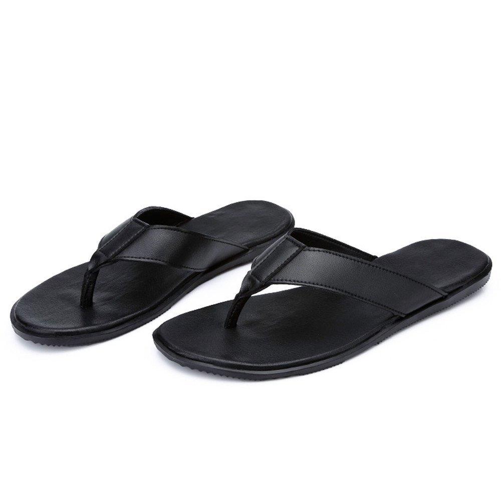 Jiuyue-schuhe, Männer Thong Flip Flops Schuhe Sohle PU-Leder Strand Hausschuhe rutschfeste Sohle Schuhe Sandalen,Herren Sandalen (Farbe : Leder schwarz, Größe : 44 EU) Leder schwarz 193420