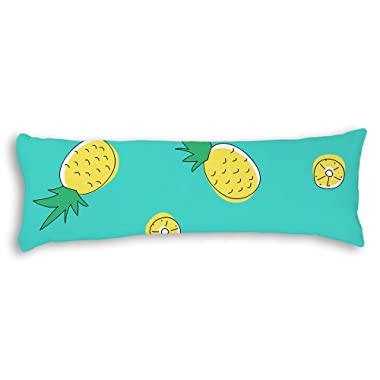 Ojngdafs Cute Pineapple Tropical Fruit Turquoise Body Pillow Cover Cases Square 20 x 54 Inches for Bed