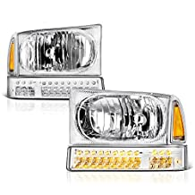 VIPMotoZ 1999-2004 Ford F-250 F-350 Superduty Excursion Headlights - Metallic Chrome Housing, LED Daytime Running Lamp Strips, Driver and Passenger Side