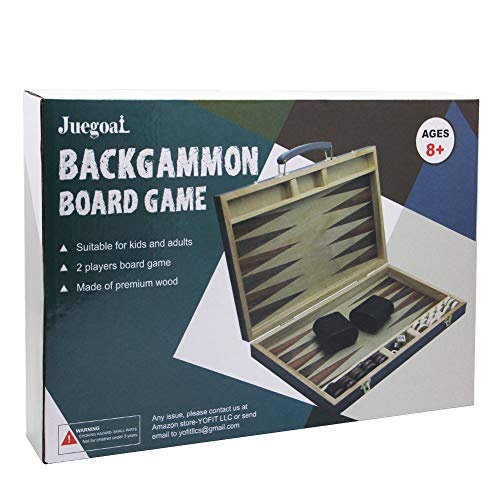 """Juegoal 15"""" Wooden Backgammon Board Game Set for Kids Adults"""