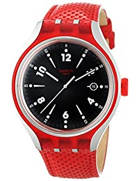 Swatch Men's Irony YES4001 Red Leather Swiss Quartz Watch