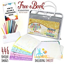 Kids Toy Stencil Set by Lotus Art Supply - Supplies 446 Cool Images, 21 Learning Stencils, Travel Case, Pencil, Coloring Pencils - Arts, Crafts, and Toys Present Idea for 4-8 Year Old Girls and Boys