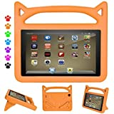ThreeJ Case for All-New A m a z o n F i r e H D 8 Tablet (7th Gen, 2017 Release), Light Weight Shock Proof Portable Handle Standing Protective Cover [Kids Friendly] for F i r e H D 8 Tablet (Orange)