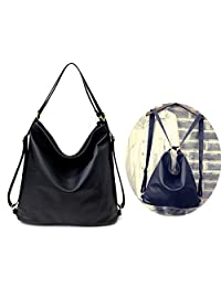 08394e2ba5b0 Lanyani Woman s Shoulder Bag and Backpack PU leather Hobo bag Handbag with  Zipper