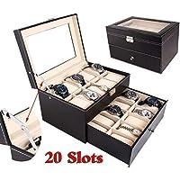 Caja de reloj portátil, 20 ranuras, bandeja de piel, caja de viaje, organizador de joyería, expositor para hombres y mujeres (20 ranuras)