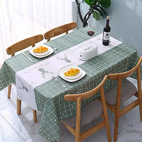 ATUIO – Tovaglia Impermeabile, Tovaglia per Tavoli Rettangolari [137 x 178 cm], [Plastica PEVA Ecologica], Tovaglia Riutilizzabile per Sala da Pranzo, Cucina, [Verde]