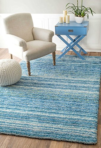 Handmade Soft and Plush Striped Shag Area Rug