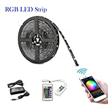 BRIGHTINWD RGB LED Strip Light Kit with SMD 5050 Waterproof RGB LED Strips 12V DC Adapter and WIFI Remote Controller Smart Phone Control