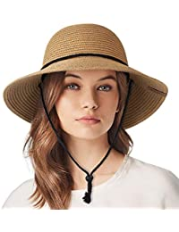 938b2627 Womens Wide Brim Sun Hat with Wind Lanyard UPF Beach Summer Sun Straw Hats  for Women