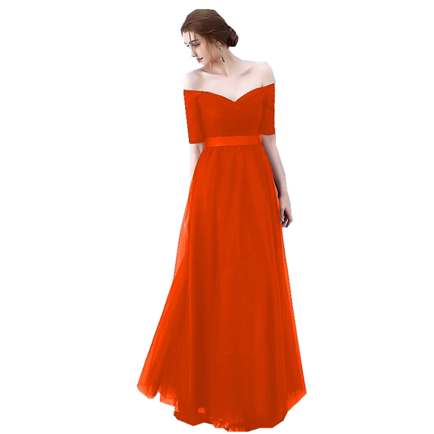Red Ruiyuhong Women's VNeck Off The Shoulder Bridesmaid Dresses Long Tulle Wedding Party Gown