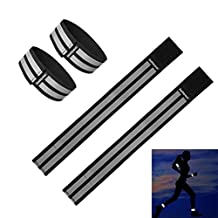 Fantaseal® High Reflective Safety Belt High Visibility Elastic Sports Wearable Bands Ankle Bands Armbands Wristband Sweatband Wrist Wrap Leg Strap Belt Reflective Fabric Tape Safety Sports Brace for Walking Jogging Running Cycling Sports & Outdoor Activity Gear Pack (4 Pack, 31 cm / 12 inch *2 + 37 cm / 14 inch*2 , Black )
