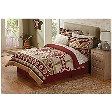 8 Piece Tan Red Southwest Comforter Queen Set, Southwestern Themed Bedding Featuring Indian Tribe Motifs and Native Tribal Designs, Striped Indie Pattern, Southern Bohemian Style