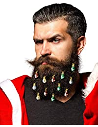 Beard Ornaments - The Original 12pc Colorful Christmas Facial Hair Baubles for Men in The Holiday Spirit, Easy Attach Mini Mustache, Sideburns, Festive Red, Green, Gold, Silver Mix