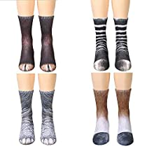 QUYP Womens Colorful Funny Novelty Crew Dress 3D Animal Lovely Socks 4 Pairs