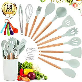 Silicone Cooking Utensil Set -  VOMELON 18 PCS Spatulas for Nonstick Cookware with Wooden Handle Kitchen Gadgets Cooking Tools Heat Resistant Turner Tongs Spatula Spoon Brush Whisk Set (Mint Green)